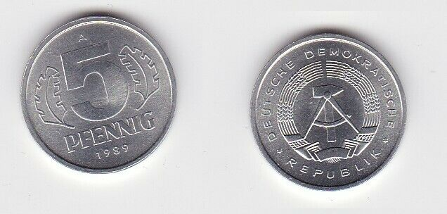 5 Pfennig Aluminium Münze DDR 1989 Stempelglanz (130792)