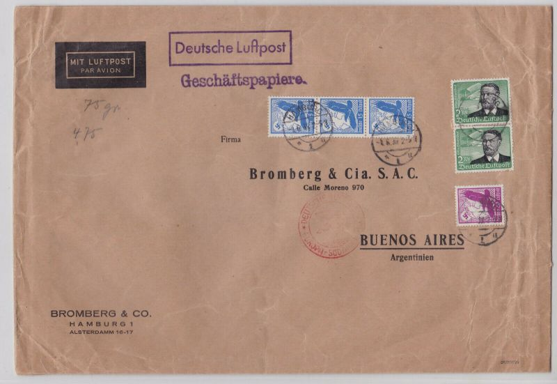 Zeppelinbrief nach Buenos Aires mit Mi: 530, 534, 538, 1938 (124809)