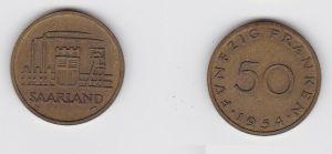 20 Franken Messing Münze Saarland 1954 vz (131439)