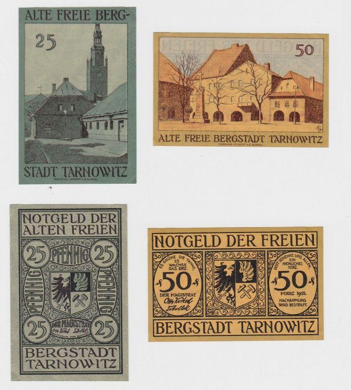 25 & 50 Pfennig Banknoten Notgeld Bergstadt Tarnowitz März 1921 (132766)
