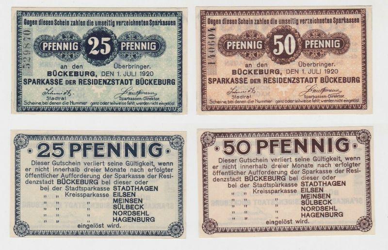 25 & 50 Pfennig Banknoten Notgeld Sparkasse Bückeburg 1.Juli 1920 (131928)