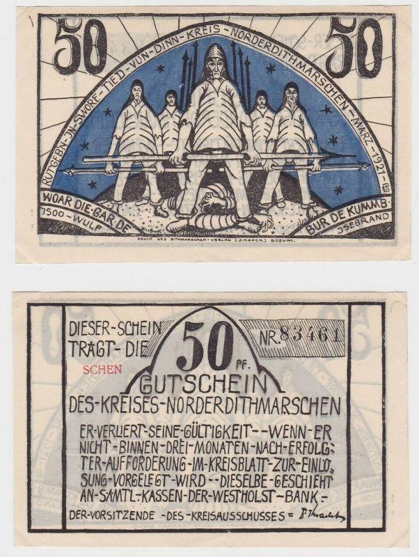 50 Pfennig Banknote Notgeld Kreis Norderdithmarschen 1921 (132698)