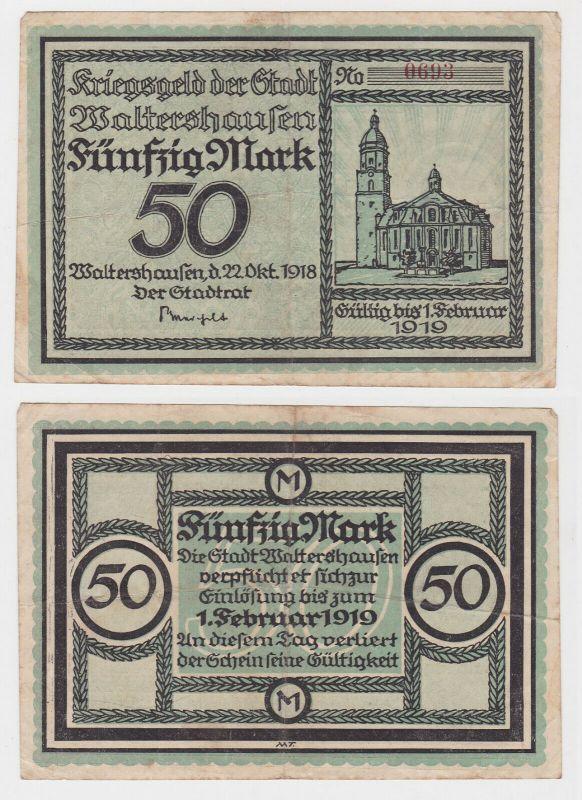 50 Mark Banknote Notgeld Stadt Waltershausen  22.Oktober 1918 (132667)