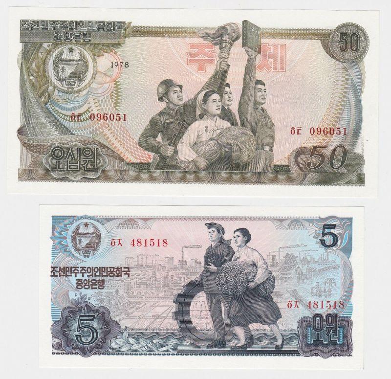 5 + 50 Won Banknote Korea 1978 kassenfrisch P. 21c + P.19 d selten! (116096)