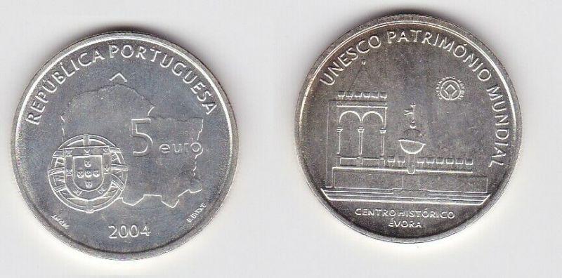 5 Euro Silbermünze 2004 Portugal Unesco Património Mundial Evora Stgl. (130663)