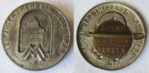 Seltenes Blech Abzeichen Leipziger Herbstmesse 1924 (119403)