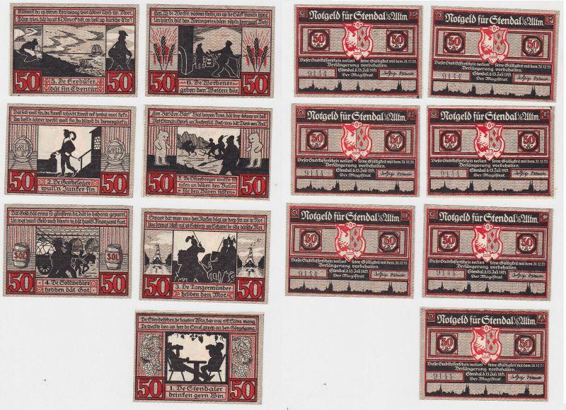 7 Banknoten Notgeld Stadt Stendal in der Altmark 1921 (133081)