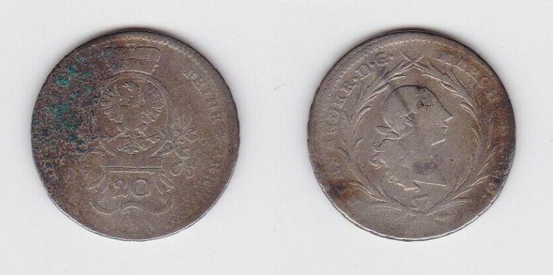 20 Kreuzer Silber Münze Brandenburg Ansbach 1765 (130243)