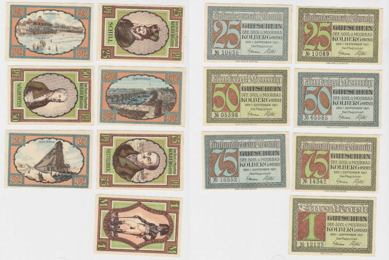 7 Banknoten Notgeld Seebad Kolberg Ostsee 1921 (131819)