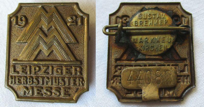 Seltenes Blech Abzeichen Leipziger Herbstmesse 1921 (110566)