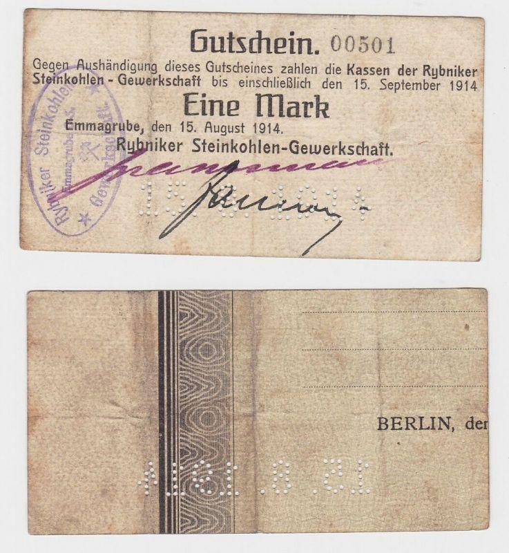 1 Mark 1914 Emmagrube/Oberschlesien Rybniker Steinkohlen-Gewerkschaft  (132758)