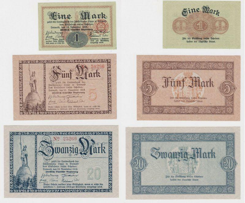 1,5 & 20 Mark Banknote Fürstlich Lippische Regierung Detmold 13.11.1918 (132867)