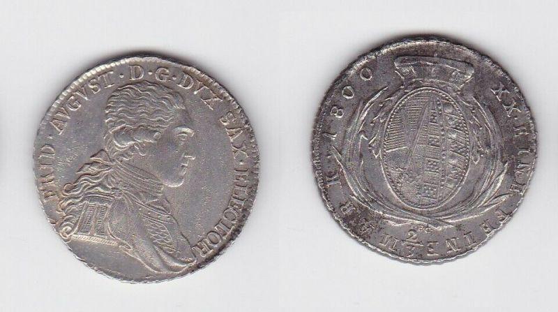 2/3 Taler Silber Münze Sachsen 1800 IEC (129892)