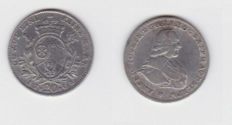 20 Kreuzer Silber Münze Bistum Mainz 1768 (130288)