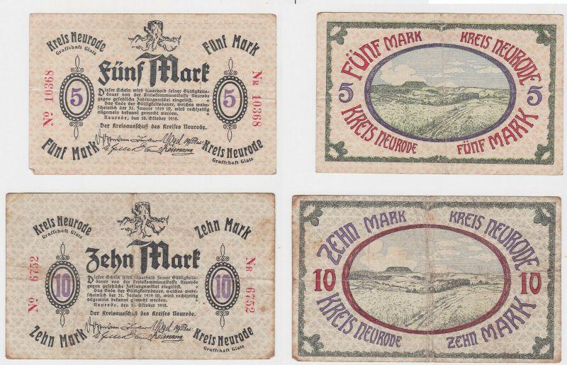 5 & 10 Mark Banknoten Notgeld Kreis Neurode Grafschaft Glatz 1918 (133165) 0