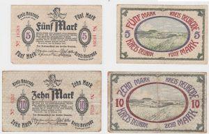 5 & 10 Mark Banknoten Notgeld Kreis Neurode Grafschaft Glatz 1918 (133165)