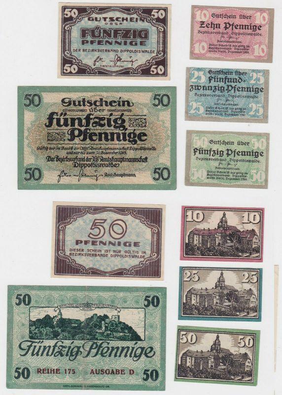 10, 25 & 3 x 50 Pfennig Banknoten Bezirksverband Dippoldiswalde um 1920 (131819)