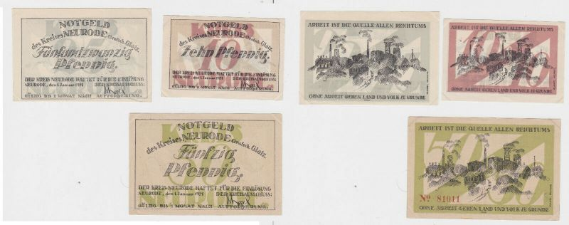 10, 25 & 50 Pfennig Banknoten Kreis Neurode Grafsch.Glatz 1921 (132643)