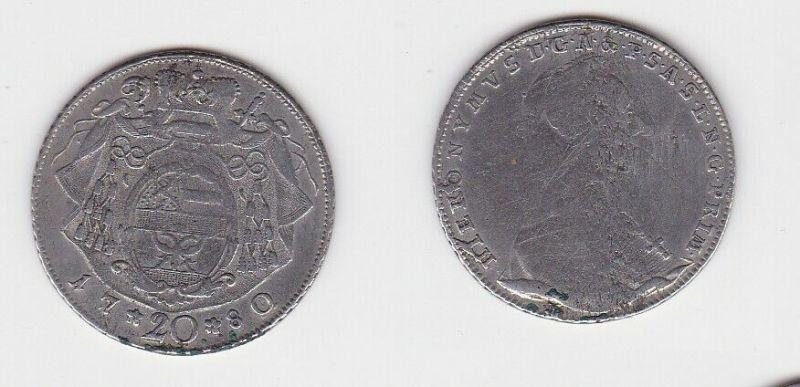 20 Kreuzer Silber Münze Salzburg, Bistum, Hieronymus von Colloredo 1780 (130253)