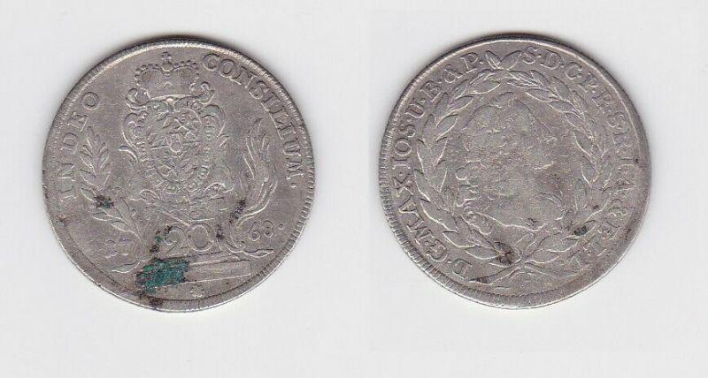 20 Kreuzer Silber Münze Kurfürstentum Bayern 1768  (129956)