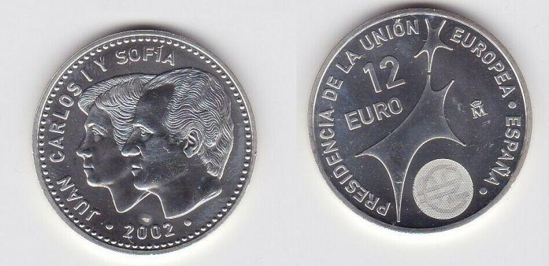 12 Euro Silbermünze Spanien Juan Carlos & Sofia EU Präsidentschaft 2002 (130487)