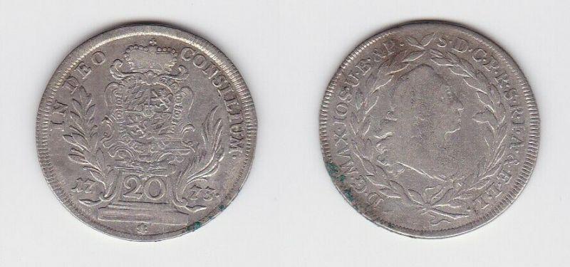 20 Kreuzer Silber Münze Kurfürstentum Bayern 1773  (129610)