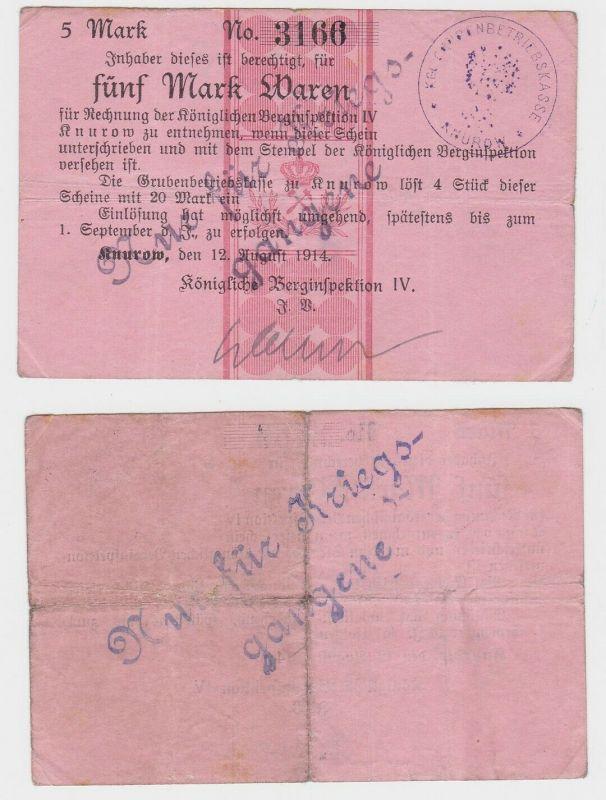 5 Mark Banknote Knurow königliche Berginspektion 12 August 1914 (133009)
