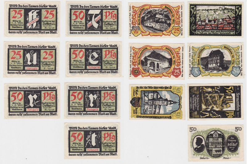 7 Banknoten Notgeld Stadt Sparkasse Treffurt 1.6.1921 (133130)