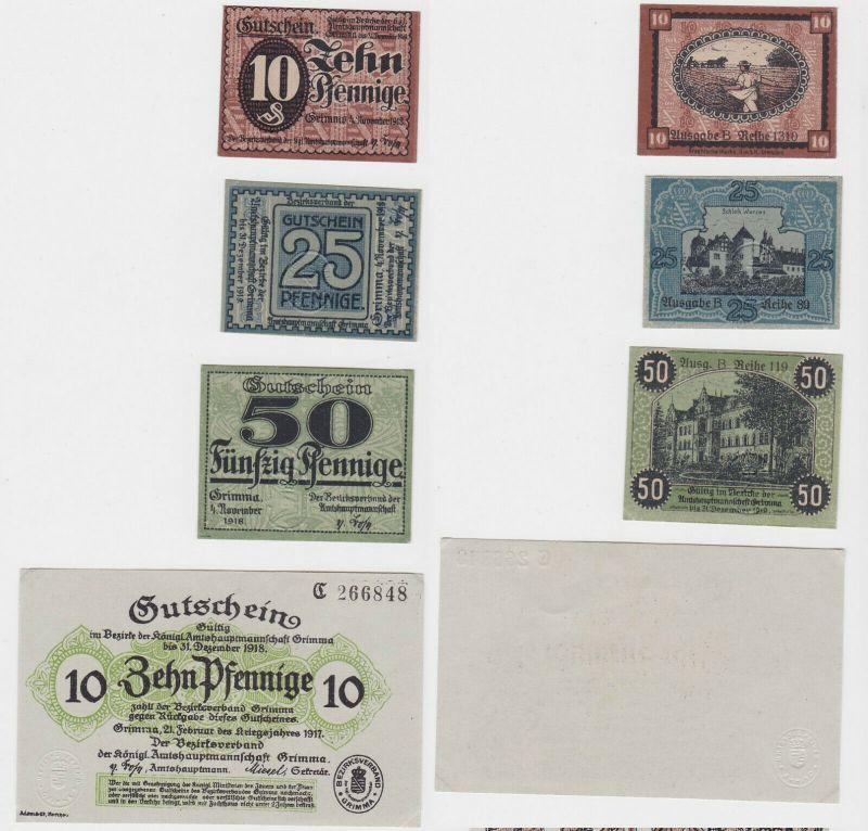 2x 10, 25 & 50 Pfennig Banknoten Stadt Grimma 1917/1918 (132125)