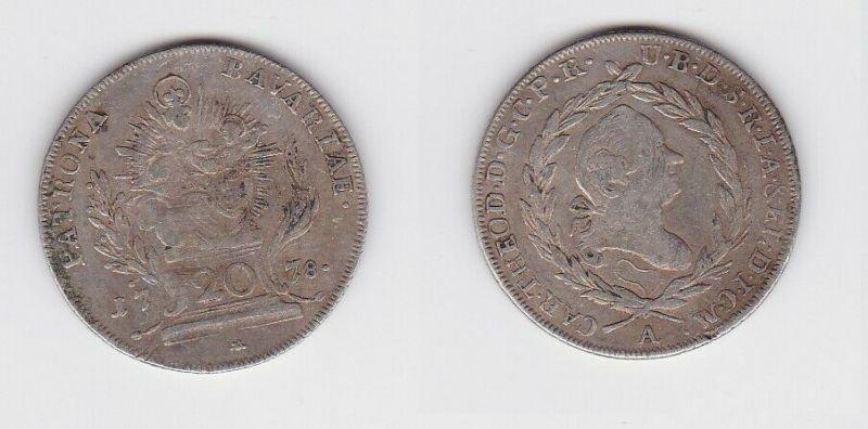 20 Kreuzer Silber Münze Bayern Madonna mit Kind 1778 A (129931)