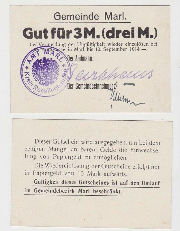 3 Mark Banknoten Notgeld Gemeinde Marl 10.September 1914 (132596)