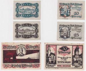 20, 25 & 50 Pfennig Banknoten Stadt Dillingen 1.Mai 1920 (131991)