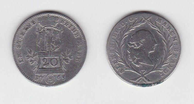 20 Kreuzer Silber Münze Brandenburg Ansbach 1765 S (129942)