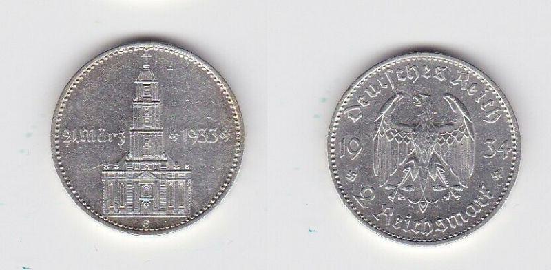 2 Mark Silber Münze 3. Reich Garnisonkirche mit Datum 1934 E Jäger 355 (131099)