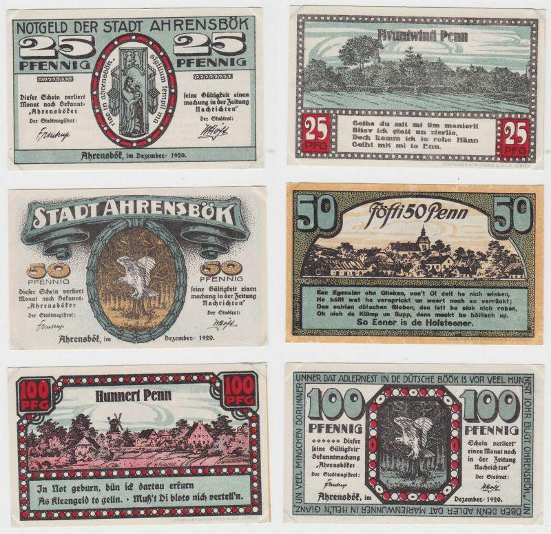 25, 50 & 100 Pfennig Banknoten Notgeld Stadt Ahrensbök 1920 (132462)