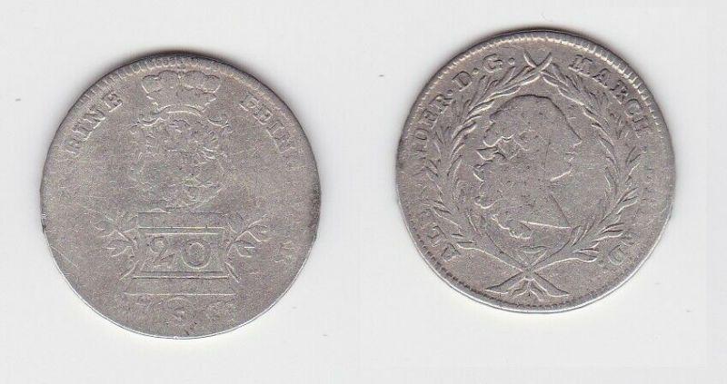 20 Kreuzer Silber Münze Brandenburg Ansbach 1763 S (130248)