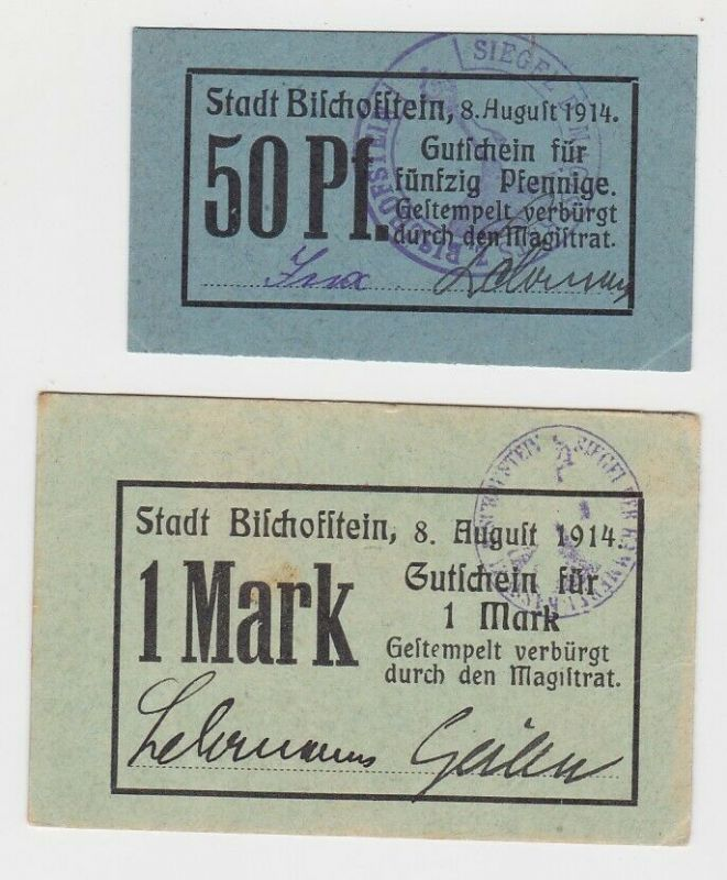50 Pfennig & 1 Mark Notgeld Bischofstein 1914 Bisztynek Ostpreußen (132649)