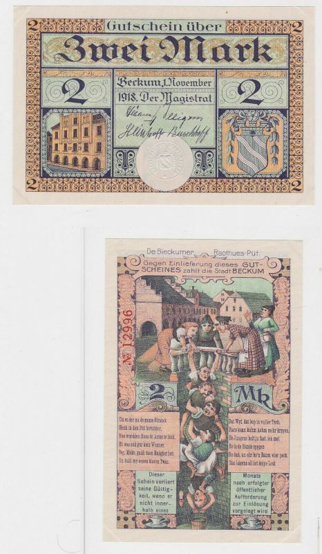 2 Mark Banknote Notgeld Stadt Beckum 1.November 1918 (132484)