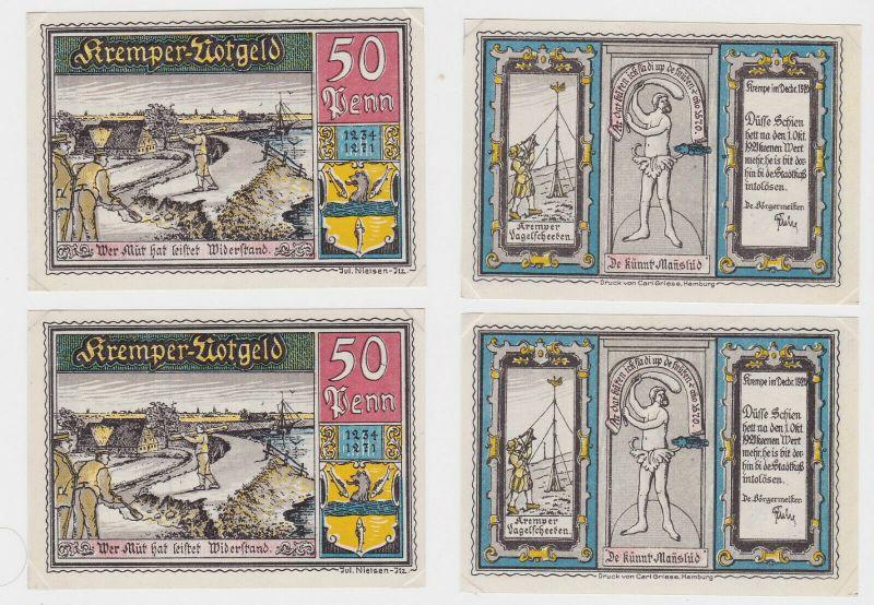 2 x 50 Pfennig Banknoten Stadt Krempe Dezember 1920 (132798)