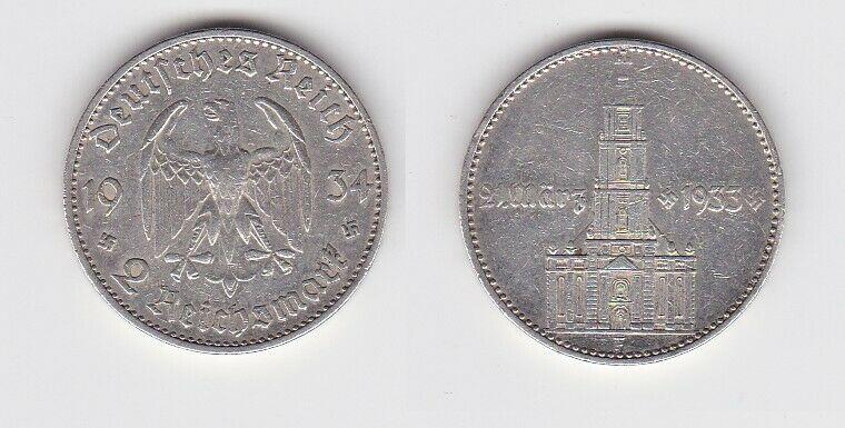 2 Mark Silber Münze 3. Reich Garnisonkirche mit Datum 1934 F Jäger 355 (132593)