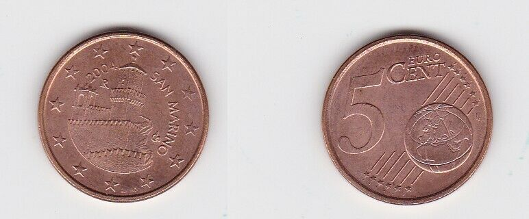 5 Cent Münze San Marino 2004 Festungsturm Guaita (131091)