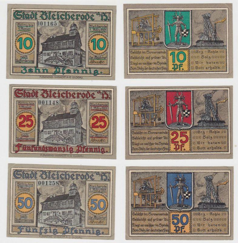 10, 25 & 50 Pfennig Banknoten Stadt Bleicherode 1.März 1921 (132618)