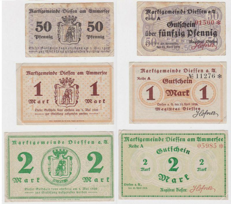 0,5, 1 & 2 Mark Banknoten Notgeld Marktgemeinde Diessen 1920 (133156)