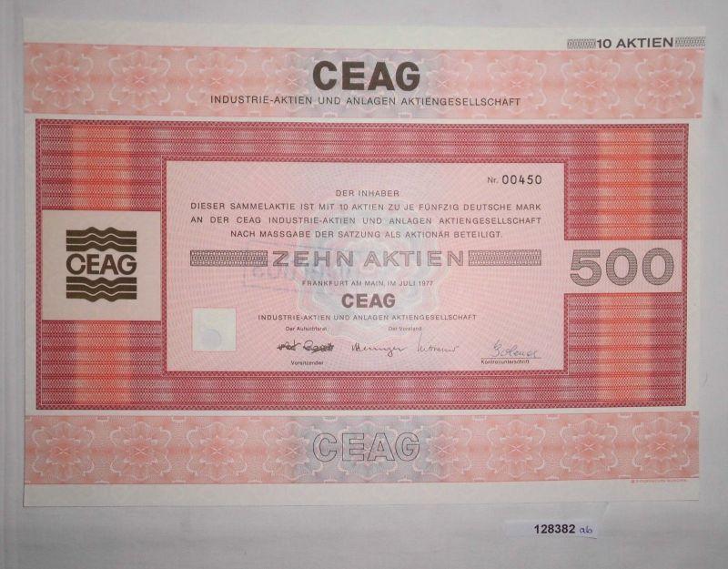 50 Mark zehn Aktien CEAG Industrie-Aktien & Anlagen Frankfurt Juli 1977 (128382)