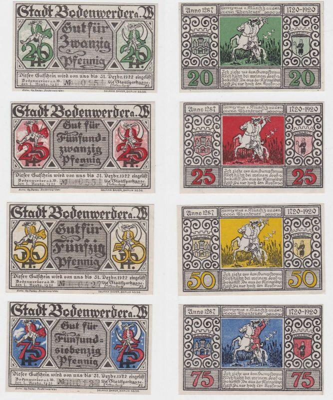 20, 25, 50 & 75 Pfennig Banknoten Stadt Bodenwerder 1.11.1920  (132264)