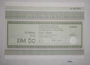 50 Mark zehn Aktien Otavi Minen AG Frankfurt am Main August 1976 (125557)