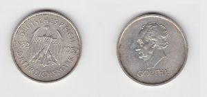 Silber Münze 3 Mark Johann Wolfgang von Goethe 1932 A (132634)