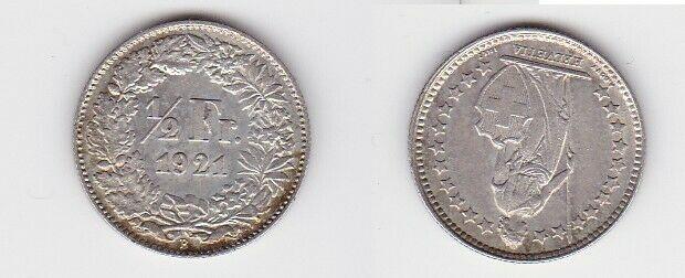 1/2 Franken Silber Münze Schweiz 1921 B (130681)