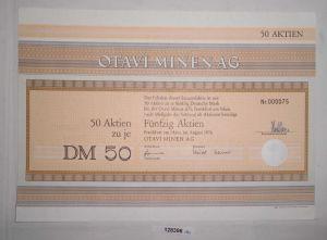 50 Mark fünfzig Aktien Otavi Minen AG Frankfurt am Main August 1976 (128396)