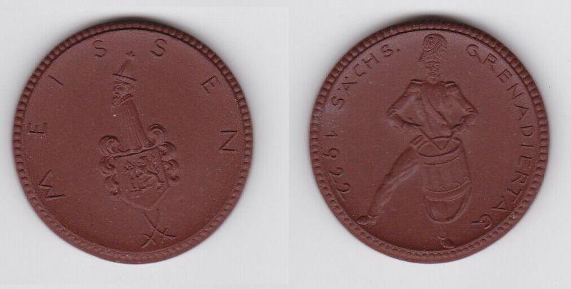 Seltene Meissner Porzellan Medaille Sächsischer Grenadiertag 1922 (125841)